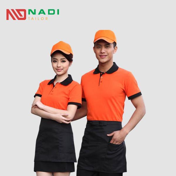Áo thun đồng phục nhà hàng màu cam