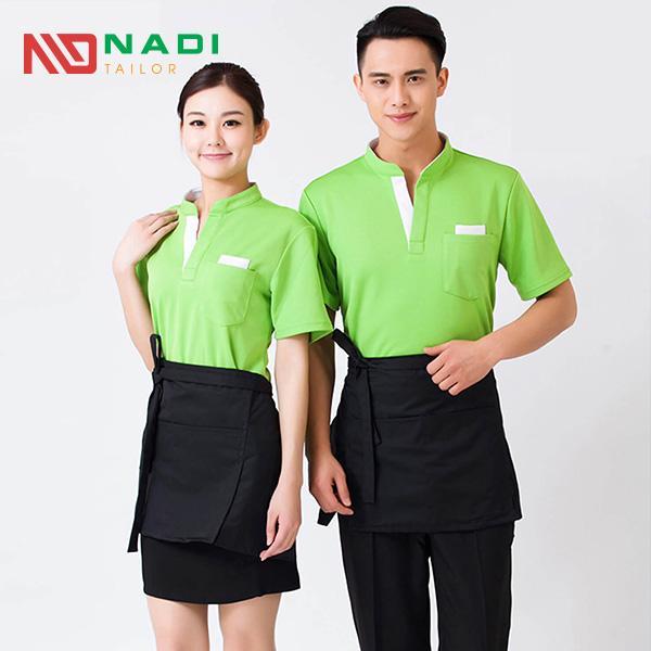Áo thun đồng phục nhà hàng màu xanh lá cây