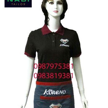 áo thun nữ phục vụ nhà hàng đen phối đỏ