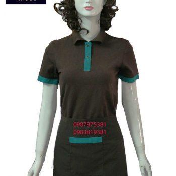 áo thun nữ phục vụ nhà hàng nâu phối xanh