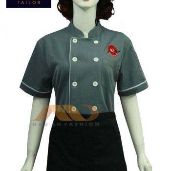 Áo bếp nữ tay ngắn xám viền trắng ABM017