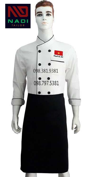 Áo bếp trắng viền đen tay dài ABM006