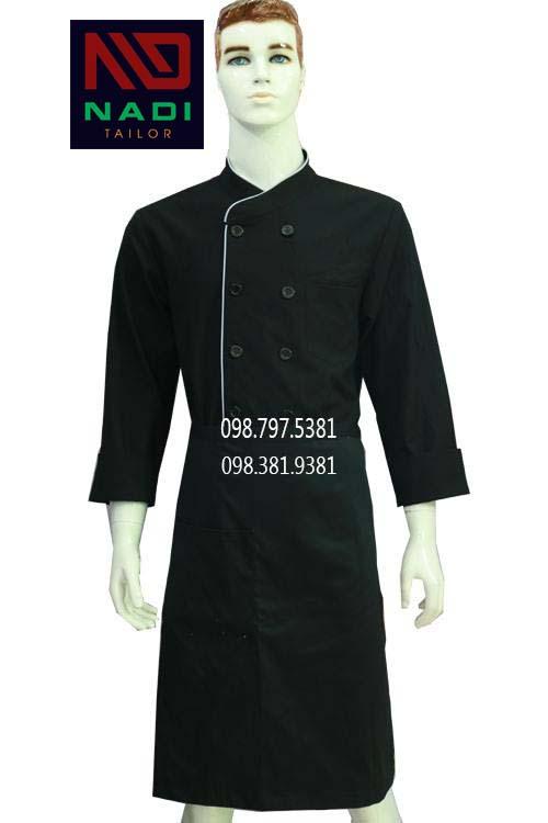 Áo bếp đen phối xám tay dài ABM005