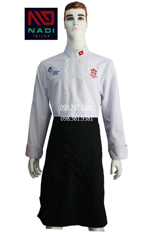 Áo bếp trắng tay dài ABM007