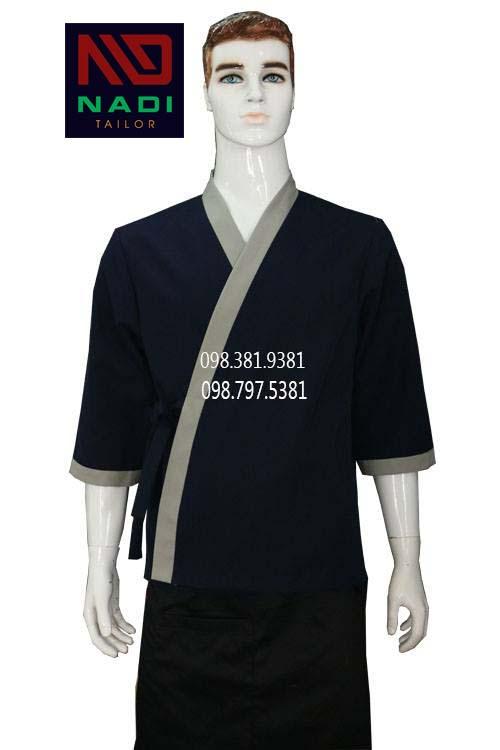 Áo bếp Nhật xanh đen phối xám ABM004