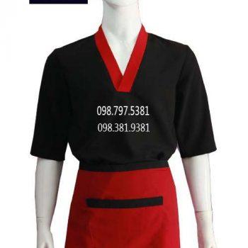 Áo bếp nam tay ngắn đen phối đỏ ABM019