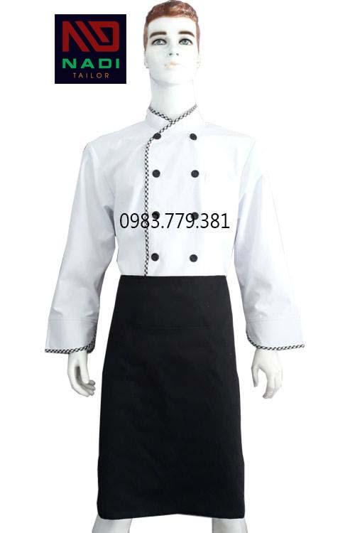 Áo bếp nam tay dài trắng phối sọc ABM010