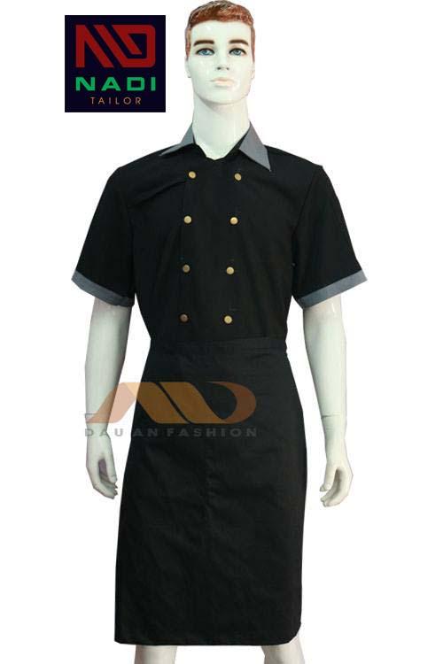 Áo bếp nam tay ngắn đen phối xám ABM020
