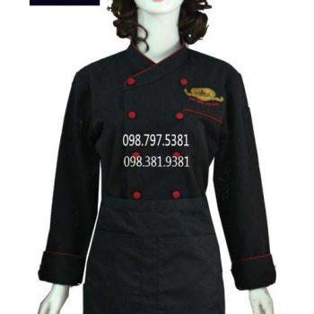 Áo bếp nữ tay dài đen viền đỏ ABM009