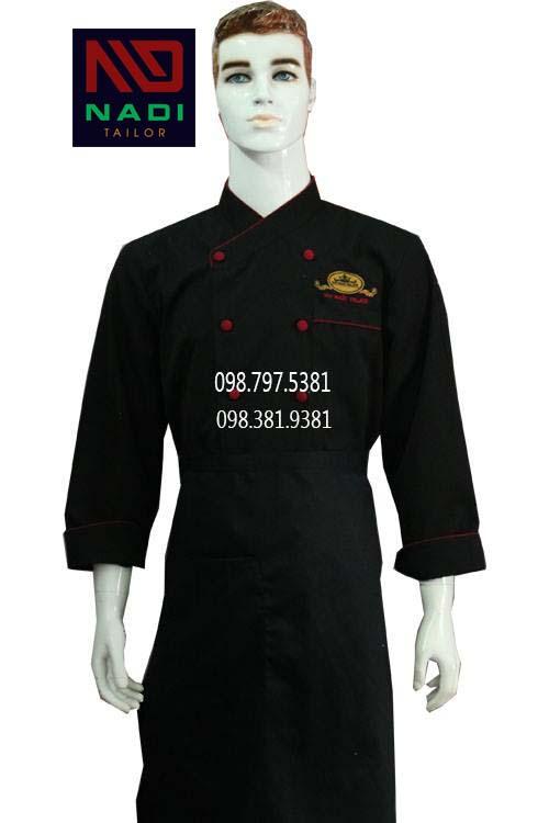 Áo bếp nam tay dài đen viền đỏ ABM008