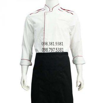 Áo bếp nam tay dài trắng viền đỏ ABM011
