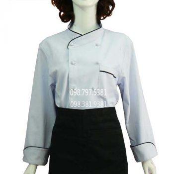 Áo bếp nữ tay dài trắng viền đen ABM012