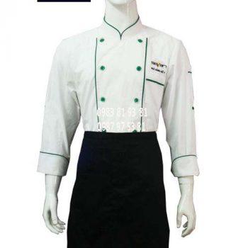 Áo bếp nam tay dài trắng viền xanh ABM013