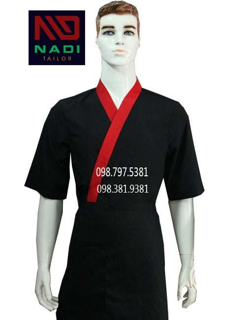 Áo bếp Nhật đen phối đỏ ABM003
