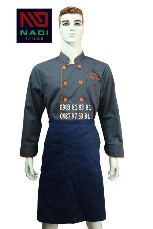 Áo bếp nam tay dài xám viền cam ABM014