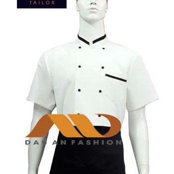 Áo bếp nam tay ngắn trắng phối đen ABM023