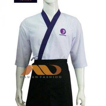 Áo bếp Nhật trắng phối tím ABM002