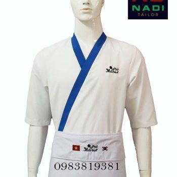 Áo bếp Nhật trắng phối xanh ABM001