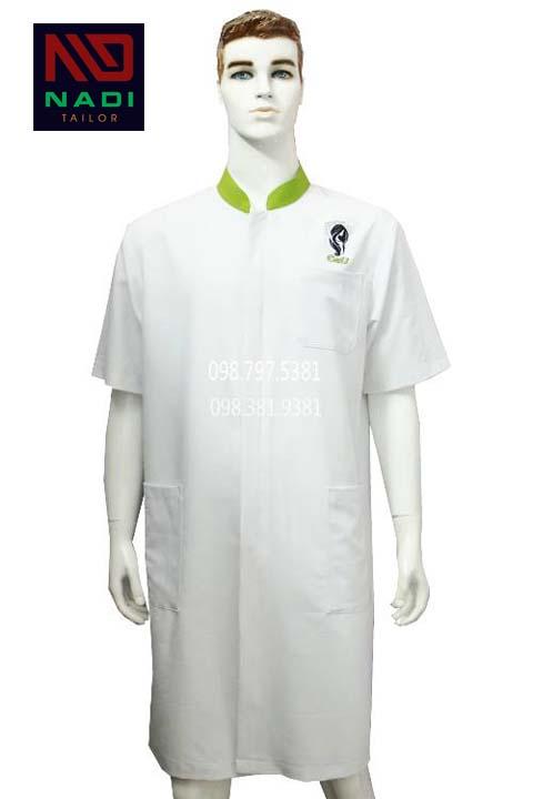 Áo blouse nam trắng phối xanh dương tay ngắn ABM002