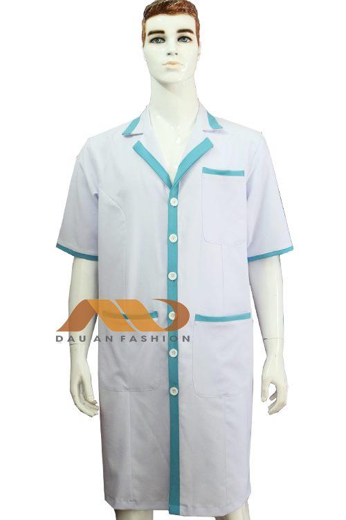 Áo blouse trắng phối xanh tay lỡ ABM018