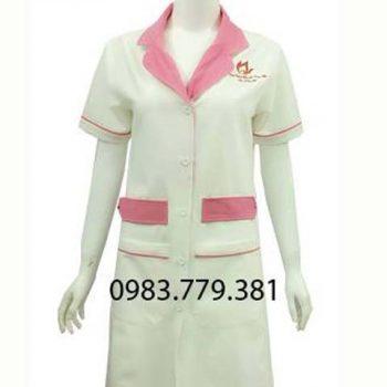 Áo blouse nữ tay ngắn trắng phối hồng ABM006