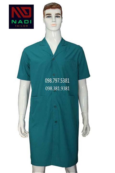 Áo blouse nam tay ngắn xanh lá ABM007