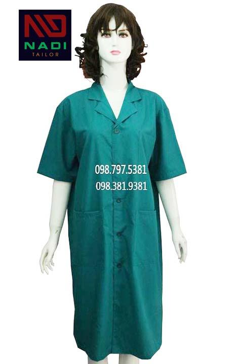 Áo blouse nữ xanh lá tay ngắn ABM008