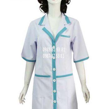 Áo blouse nữ trắng phối xanh tay lỡ ABM009