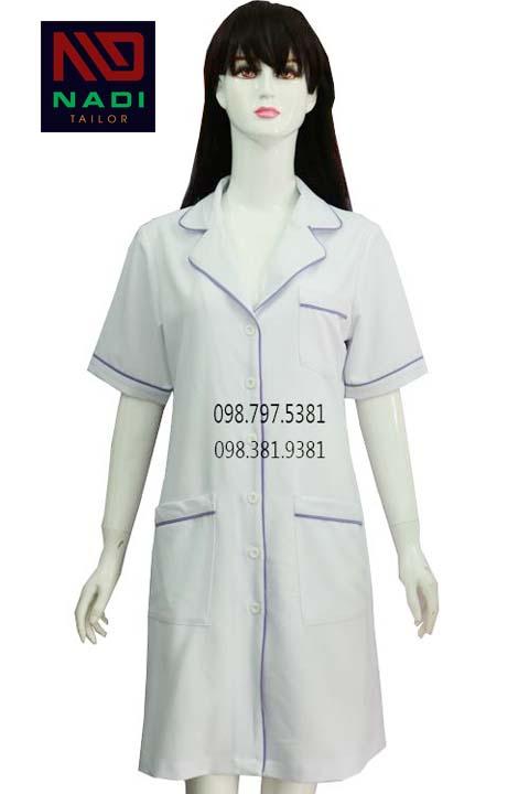 Áo blouse nữ trắng viền tím