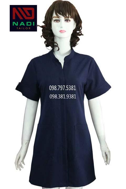Áo blouse cách điệu tay lỡ màu xanh đen ABM011