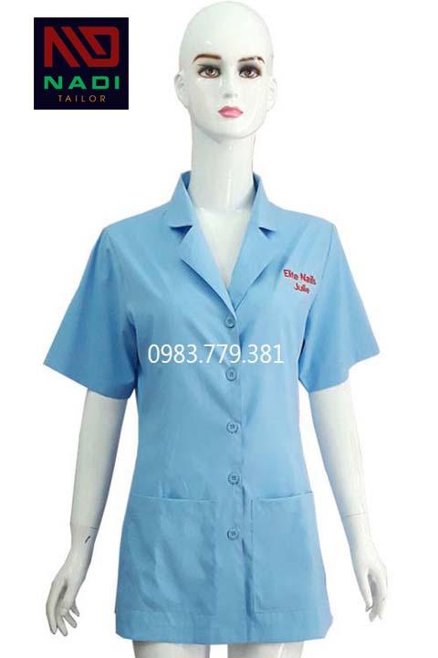 Áo blouse nữ xanh lam ABM012