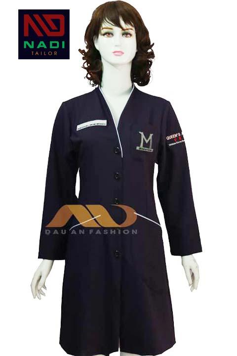 Áo blouse đen viền trắng ABM020
