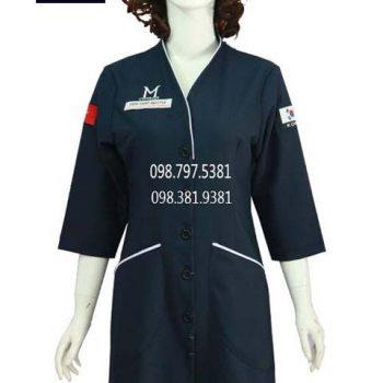 Áo blouse xanh đen viền trắng ABM027