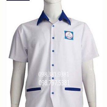 Áo blouse trắng phối xanh