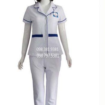 Áo blouse nữ trắng phối xanh tay ngắn ABM032