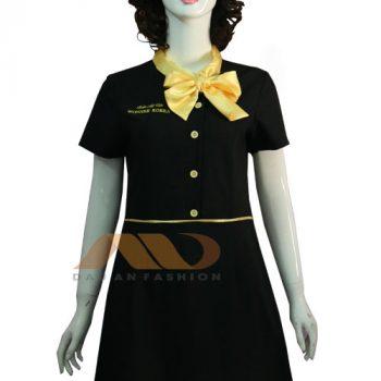 đồng phục nhân viên áo đầm đen viền vàng AS0111