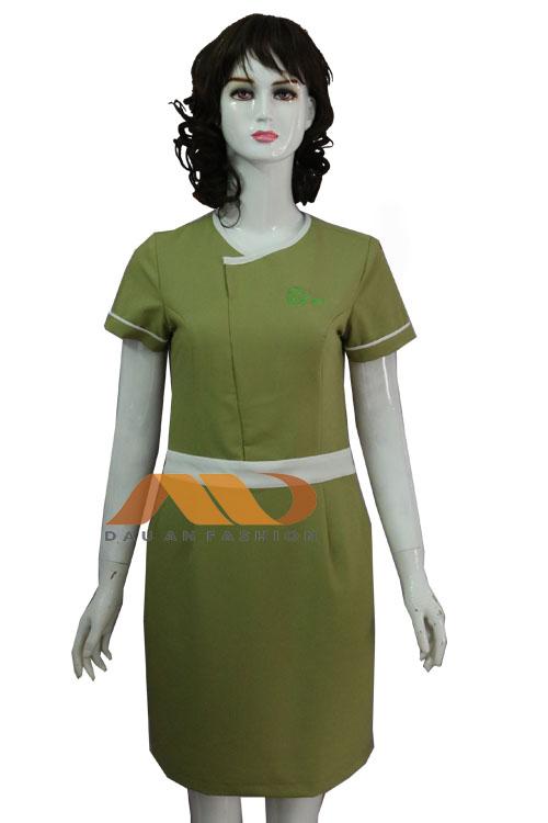 Đồng phục nhân viên tư vấn váy xanh