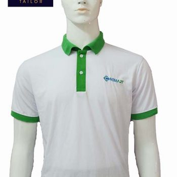 Áo thun nam phục vụ nhà hàng trắng phối xanh AT011