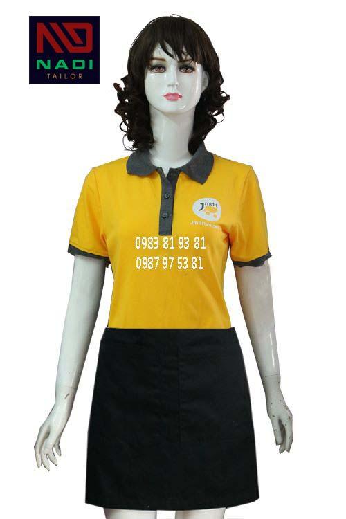 Áo thun nữ phục vụ nhà hàng vàng phối xám AT006