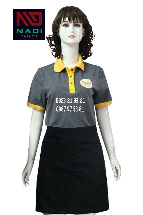 Áo thun nữ phục vụ nhà hàng xám phối vàng AT010