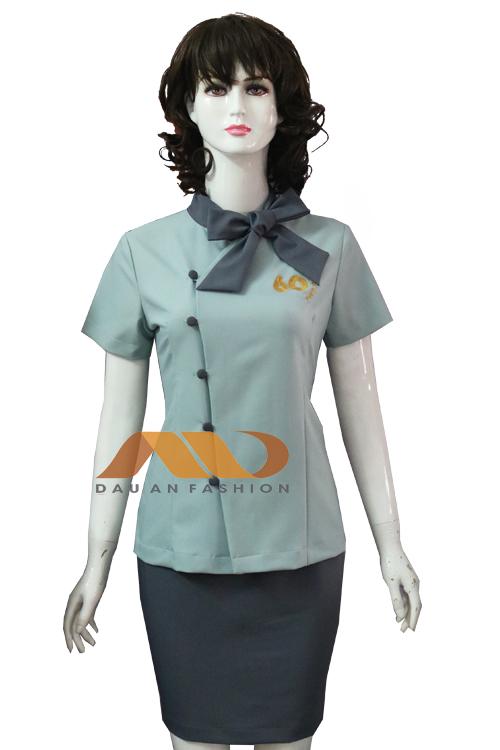 đồng phục nhân viên váy màu xám xanh