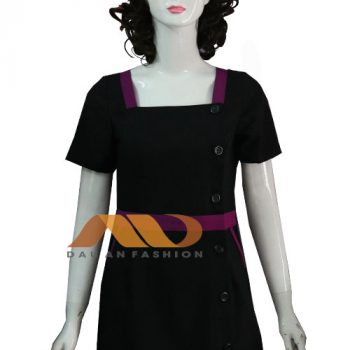 Đồng phục nhân viên áo đầm đen viền tím