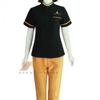 đồng phục nhân viên spa đen vàng QS0053