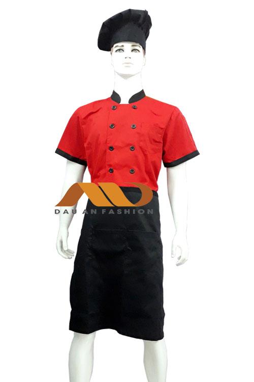 Áo bếp đỏ phối đen tay ngắn