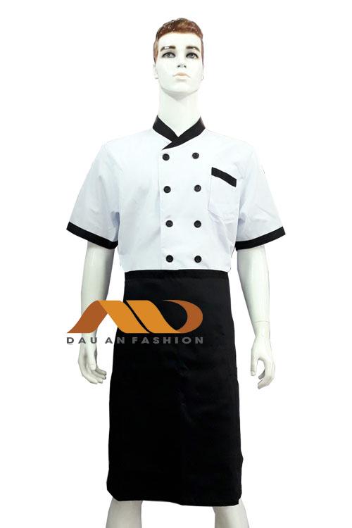 áo bếp trắng phối đen tay ngắn