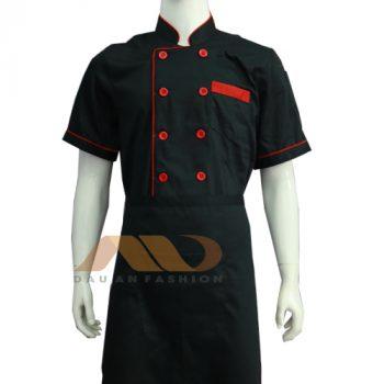 Áo bếp đen viền đỏ tay ngắn AB0005