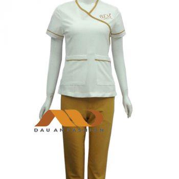 đồng phục nhân viên trắng viền vàng