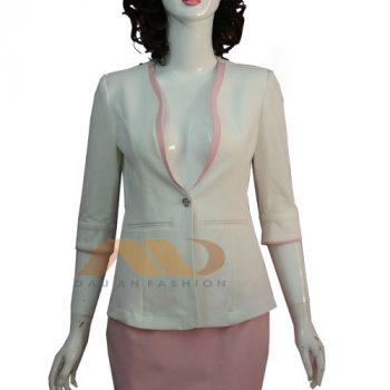 Đồng phục lễ tân cao cấp trắng viền hồng
