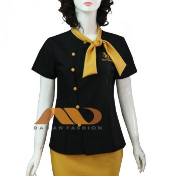 Đồng phục kỹ thuật viên spa đen vàng thắt nơ