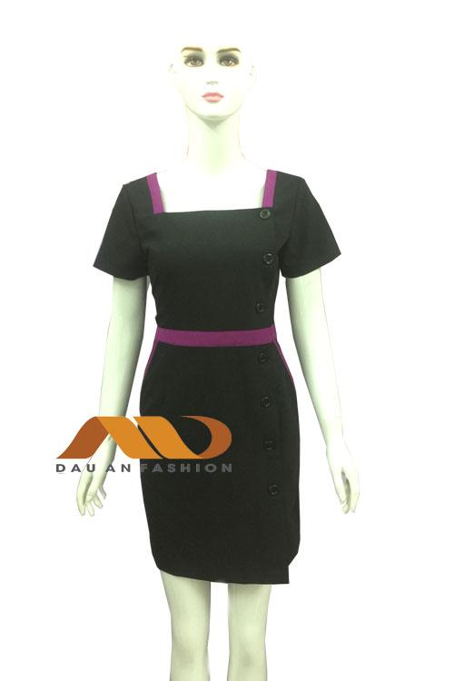 Đồng phục spa đầm đen phối hồng